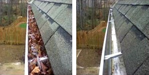 Before and after cleaning gutters